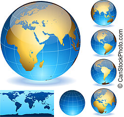 Vector Earth globes and detailed shape of the world isolated on white. Easy to edit EPS10 file with transparency.