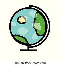 Vector. Earth planet globe with white clouds. Isolated on white background