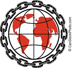Vector Earth planet illustration surrounded by iron chain. Totalitarianism as the evil power, dictatorship and manipulation theme
