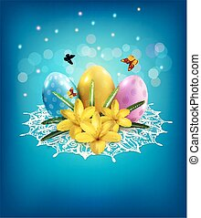 Vector Easter background with eggs, crocus on a blue background and lace