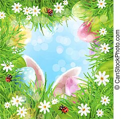 Vector Easter background with rabbit ears, eggs, grass and blue sky.