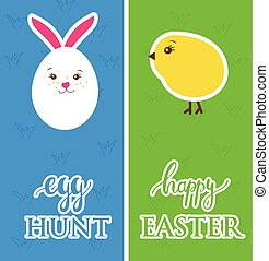 Vector easter banners with  egg, rabbit, chick and grass - symbols of Easter.