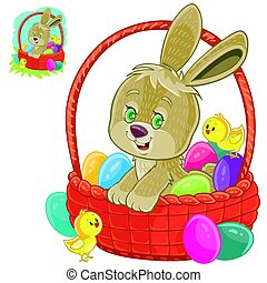 Vector easter bunny sitting in a basket for easter hunting with decorated eggs and yellow chickens.