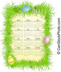 Vector Easter calendar 2011