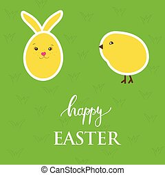 Vector easter card with  egg, rabbit, chick on green grass background