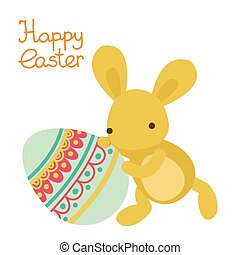 Vector easter cute bunny with the egg