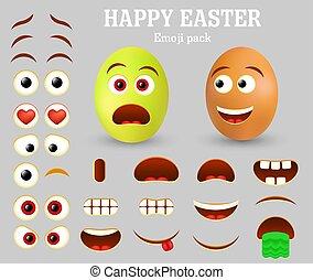 Vector Easter egg emoji maker, emoticon creator