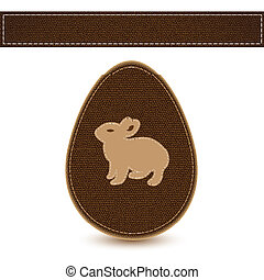 Vector easter egg sewn leather sample with bunny