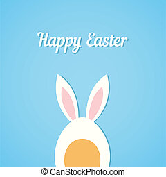 Vector Easter egg with rabbit ears, blue card background