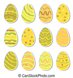 Vector easter eggs icon set in flat style