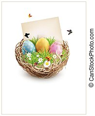 Vector Easter eggs in a wicker nest, green grass and rectangular greeting cards. Isolated on white background. Element for design