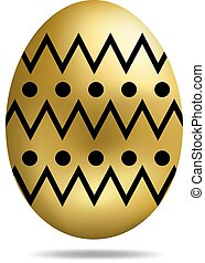 Vector Easter Golden Egg isolated on white background. Colorful Egg with Dots Pattern. Realistic Style. For Greeting Cards, Invitations. Vector illustration for Your Design, Web.