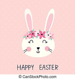Vector Easter illustration with cute rabbit