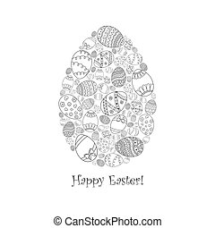 Vector Easter Invitation Card Of Egg Shape From Doodle With Happy Text Lettering