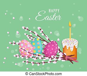 vector easter poster with eggs, pussy-willow, cake