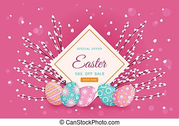 vector easter poster with eggs, pussy willow