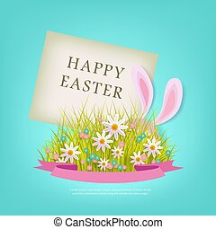 vector easter poster with rabbit with eggs flowers