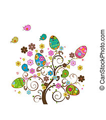vector easter tree with birds