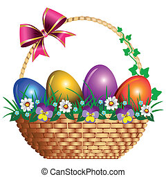 Easter basket with pink bow and pansies, illustration isolated on white background.
