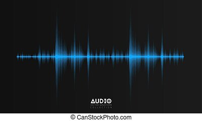 Vector echo audio wavefrom. Abstract music waves oscillation. Futuristic sound wave visualization. Synthetic music technology sample. Tune print with blurred bars.