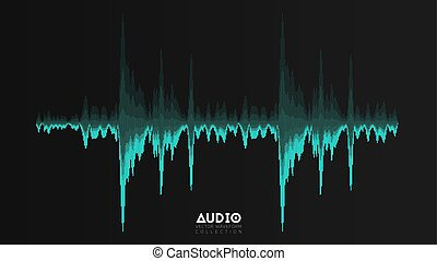 Vector echo audio wavefrom. Abstract music waves oscillation. Futuristic sound wave visualization. Synthetic music technology sample. Cyan tune print with bars.