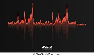 Vector echo audio wavefrom. Abstract music waves oscillation. Futuristic sound wave visualization. Synthetic music technology sample. Red tune print with bars.
