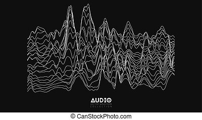 Vector echo audio wavefrom spectrum. Abstract music waves oscillation graph. Futuristic sound wave visualization. Black and white line impulse pattern. Synthetic music technology sample.