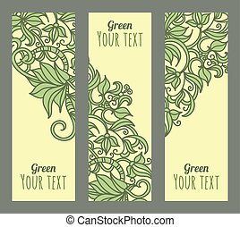 Vector eco banners set with green p