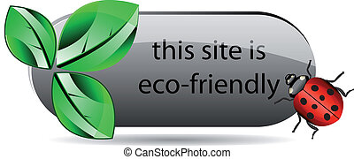 Vector eco button with green leaf and ladybug