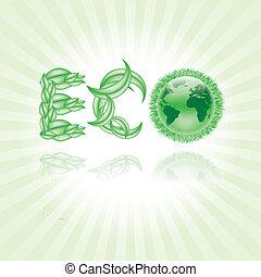 Vector eco earth globe Design with grass