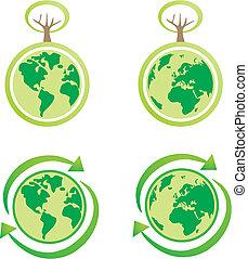 Vector eco green earth icon set