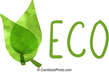 Vector Eco Icon, Watercolor Painting Illustration Isolated Symbol.