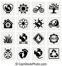 vector, eco, pictogram, set