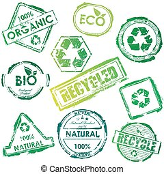 Set of vector green bio and eco stamps