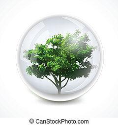 vector, ecología, árbol, plano de fondo, bubble.