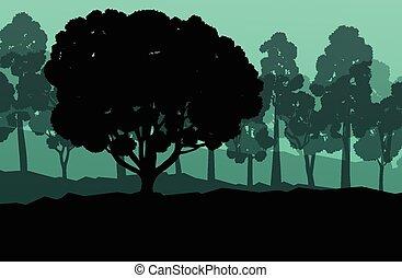 vector, ecología, bosque, plano de fondo