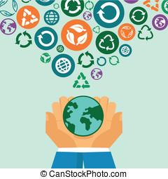 vector, ecología, concepto, -, manos humanas, tenencia, globo, con, reciclar, señales, y, símbolos