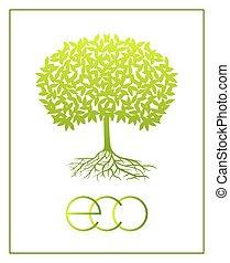 Vector ecologic symbol. - Vector eco green tree silhouette...