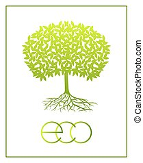 Vector ecologic symbol. - Vector eco green tree silhouette...
