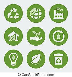 vector, ecologie, en, recycling, iconen, set