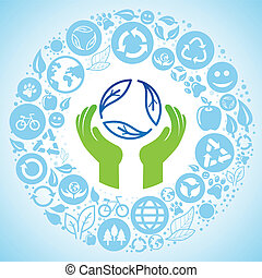 Vector ecology concept - hands and recycle sign