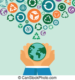 Vector ecology concept - human hands holding globe with recycle signs and symbols