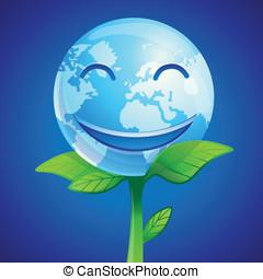 Vector ecology concept - vector smiling planet