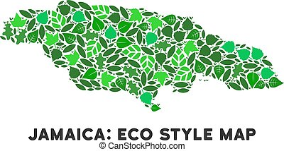 Vector Ecology Green Collage Jamaica Map