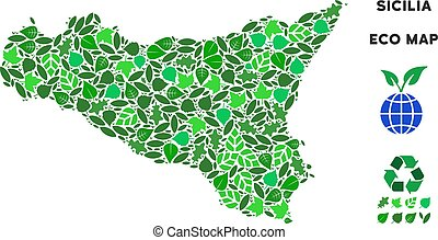 Vector Ecology Green Mosaic Sicilia Map - Ecology Sicilia...