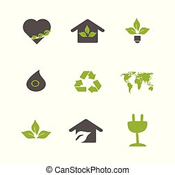 Vector ecology symbols closeup isolated. Clean planet