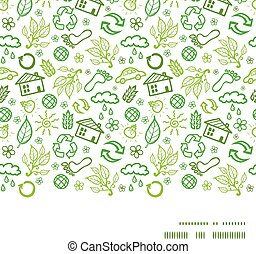 Vector ecology symbols horizontal frame seamless pattern background