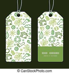 Vector ecology symbols vertical stripe frame pattern tags set