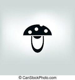 vector edible mushroom icon