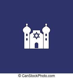 vector, edificio, icono, sinagoga, judaísmo